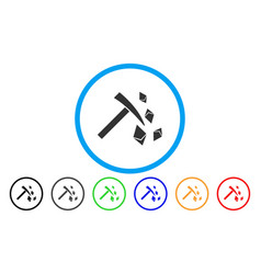 Ethereum mining hammer flat icon vector
