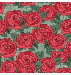 Flower of seamless pattern with red roses backgrou vector image vector image