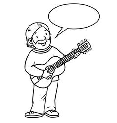 Funny musician or guitarist coloring book vector