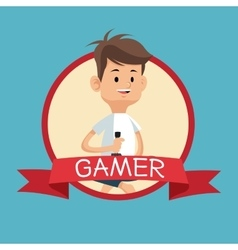 Gamer with joystick video console banner blue vector