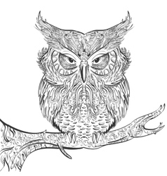 Gray owl ornament black on a white background vector
