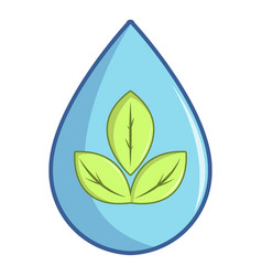 Green leaves inside water drop icon cartoon style vector