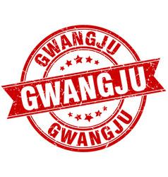 Gwangju red round grunge vintage ribbon stamp vector