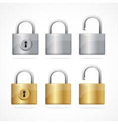 locked and unlocked padlock set vector image