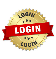 login 3d gold badge with red ribbon vector image vector image