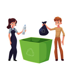 Man woman putting garbage into trash bin waste vector