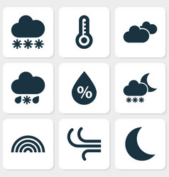 Nature icons set collection of night moisture vector