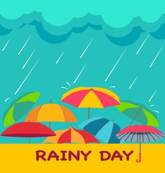 Rainy season background with clouds raindrops and vector