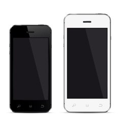 Realistic mobile phones with blank screen vector image vector image