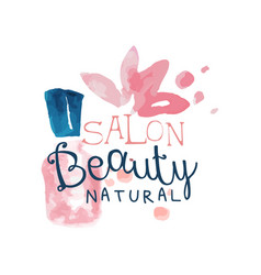 Salon beauty natural logo label for hair or vector