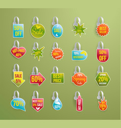 Shelf wobbler discount labels set on green vector