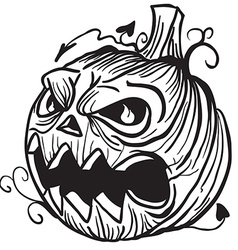 simple black and white pumpkin head vector image vector image