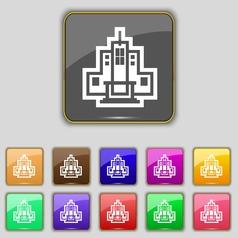 skyscraper icon sign Set with eleven colored vector image vector image