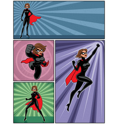 super heroine banners 4 vector image vector image