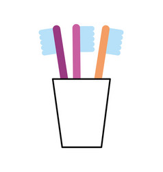 Tooth brushes in glass clean bath dent design vector