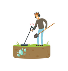 Treasure seeker with metal detector and shovel vector