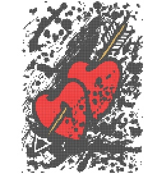 Two hearts with arrow vector image