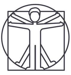 vitruvian man line icon sign vector image