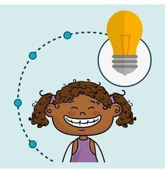 Girl cartoon idea icon vector