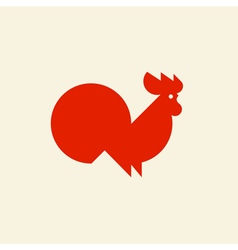 Silhouette of cute rooster vector image