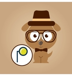 doggy hipster concept monocle style vintage vector image