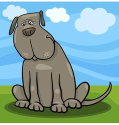 Cute big gray dog cartoon vector