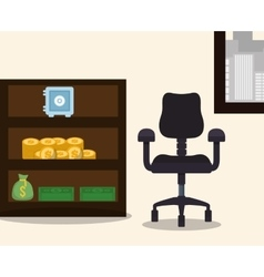business workplace chair furniture safe box bag vector image
