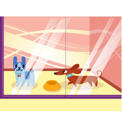 a petshop with dogs lovely cartoon animals in the vector image