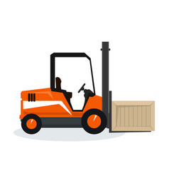 Orange forklift truck isolated on white vector