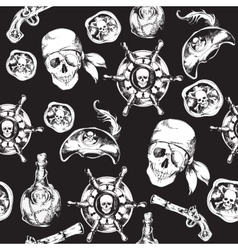 Pirates black and white seamless pattern vector