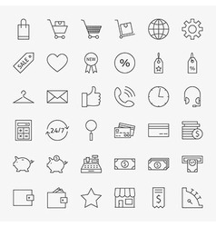Line online shopping and commerce icons big set vector