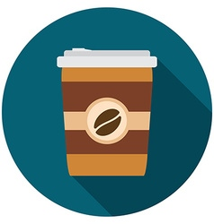 Flat design modern of coffee icon with long shadow vector