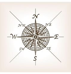 Compass rose sketch style vector