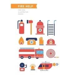 Fire help conceptual icons set vector