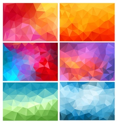abstract low poly backgrounds set vector image vector image