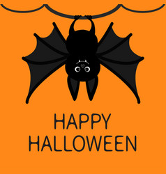 Bat hanging on the tree ring happy halloween card vector