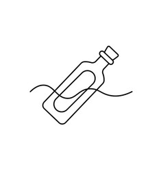 bottle message icon vector image vector image