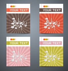 Brochure Cover Design Template Set with Note - vector image