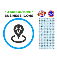 Cattle location rounded icon with set vector