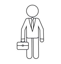 Character business man with suit portfolio outline vector
