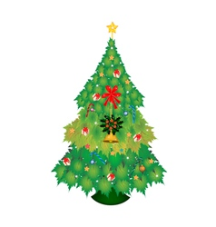 Christmas tree of maple leaves with ornament vector