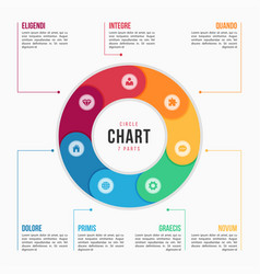 Circle chart infographic template with 7 parts vector
