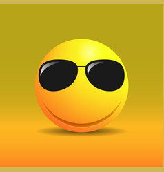 cute smiling emoticon in sunglasses vector image