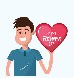 father with heart in the hand to father day vector image
