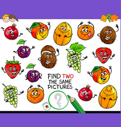 Find two the same fruit characters game vector