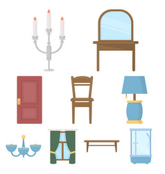 furniture set icons in cartoon style big vector image vector image