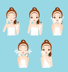 Girl Cleaning And Care Her Face Set vector image