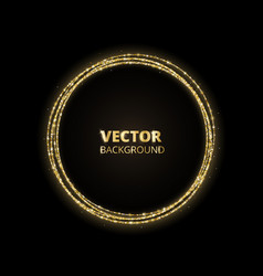 golden sparkle background glitter circle frame vector image