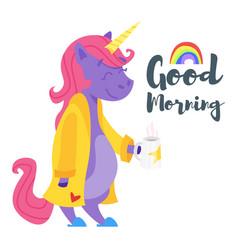 happy unicorn drinking tea in the morning vector image