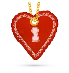 Heart with keyhole label tag hanging on golden vector